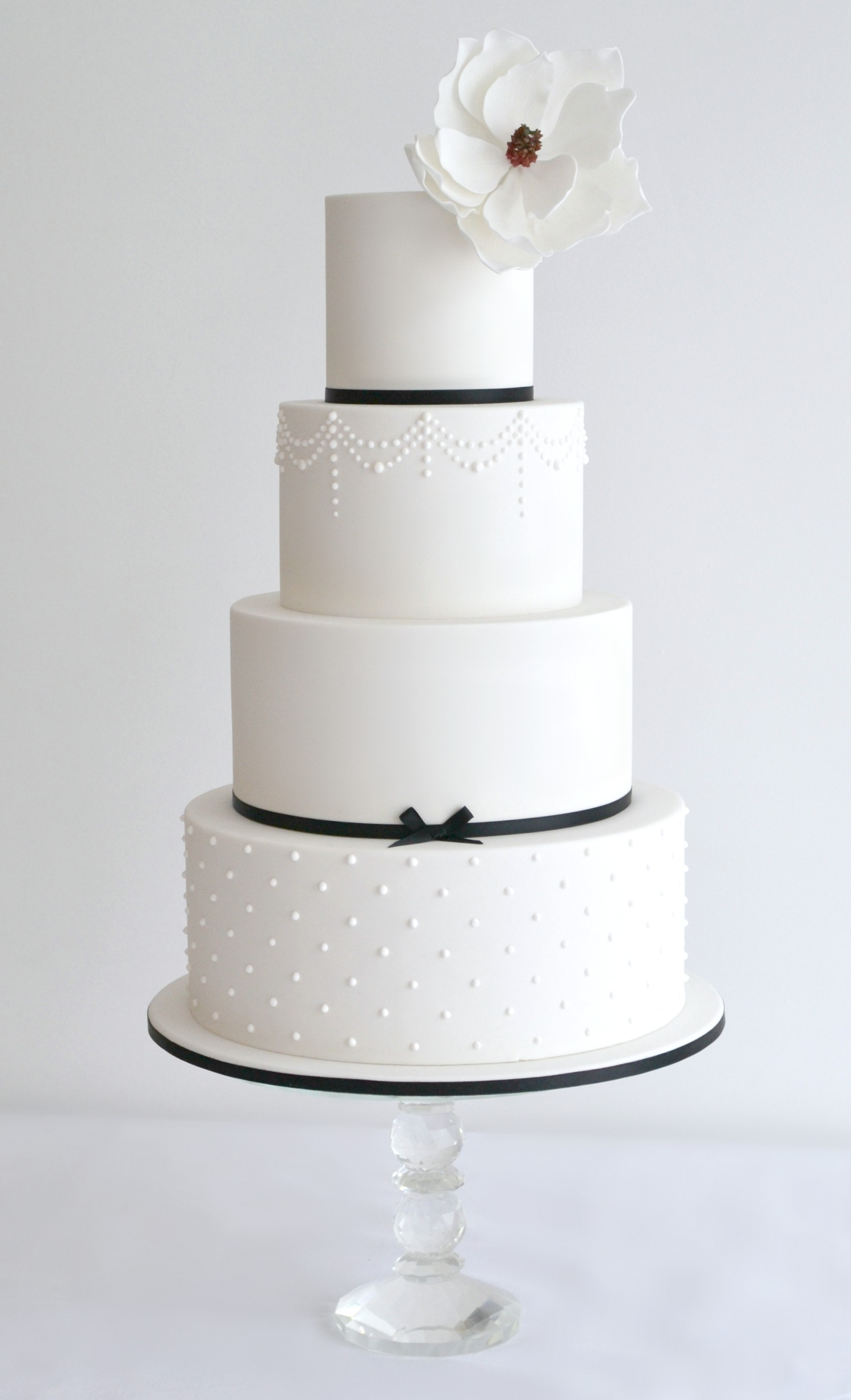 4 Tier Wedding cake with Magnolia