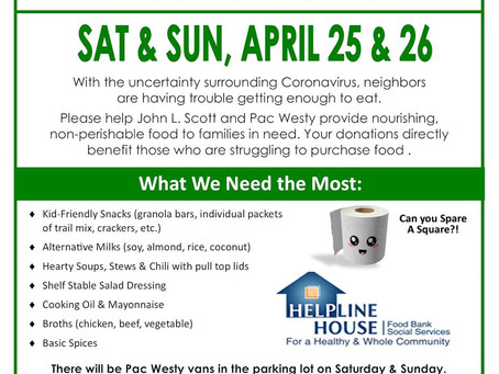 Helpline House Spring Food Drive