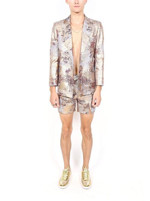 Purple and Gold Paint Splash Shorts Suit Set