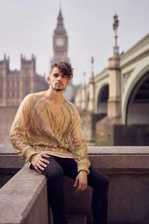 Hand-Crafted Crystal Detail Sheer Jumper in Gold