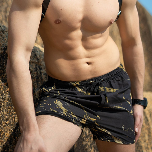Black and Gold Marble Swim Shorts