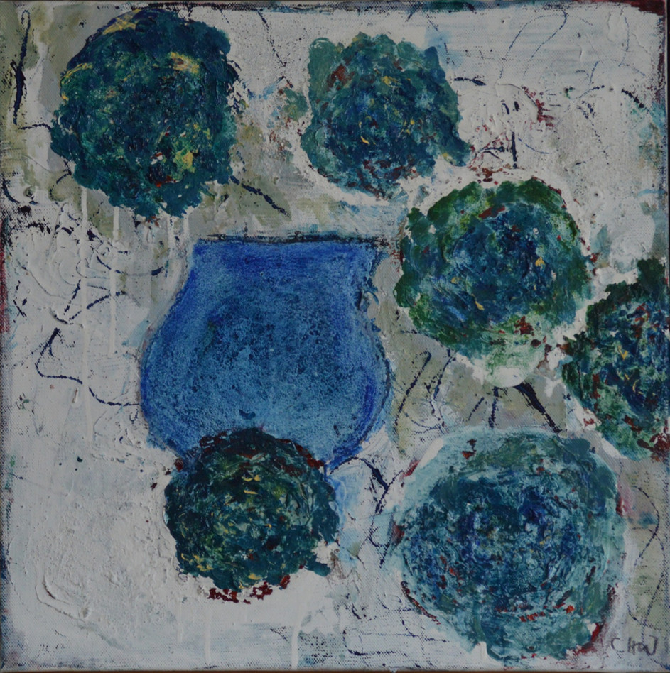 Green Flowers and Blue Pot 2021