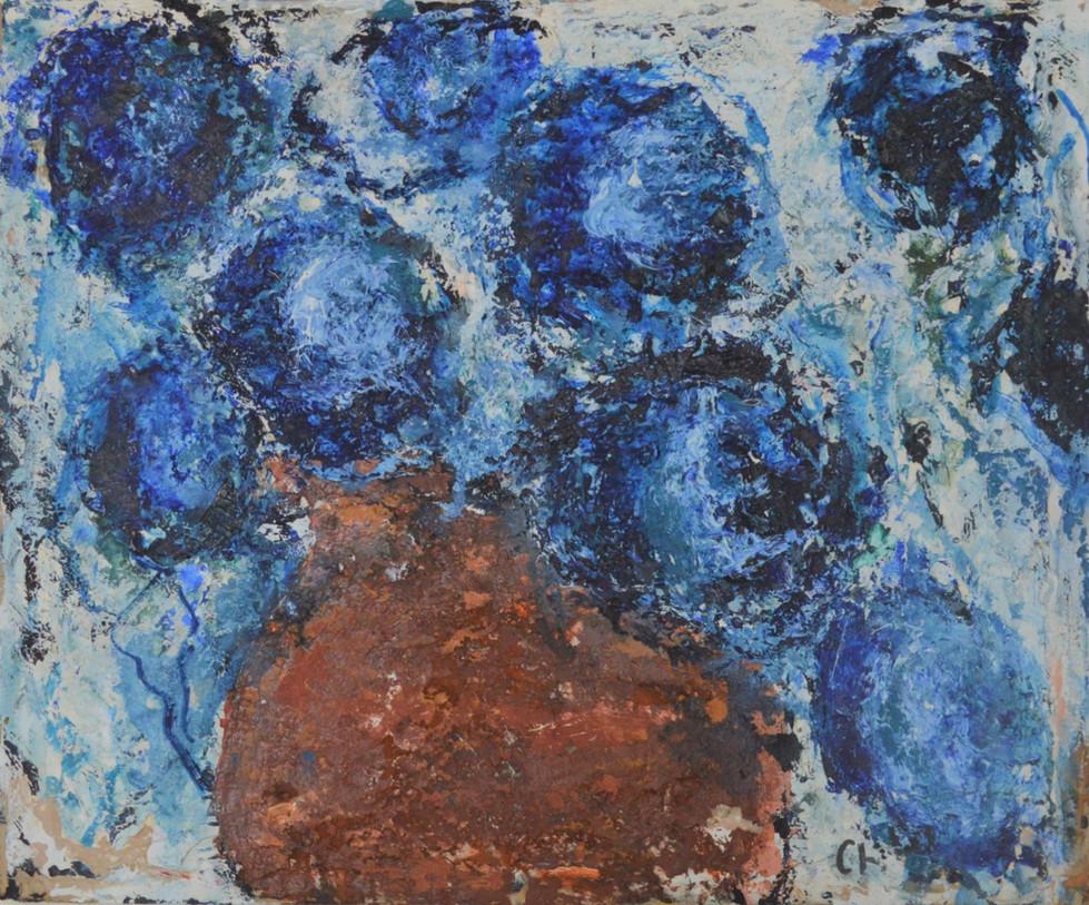 Blue Flowers in Brown Vase 2002