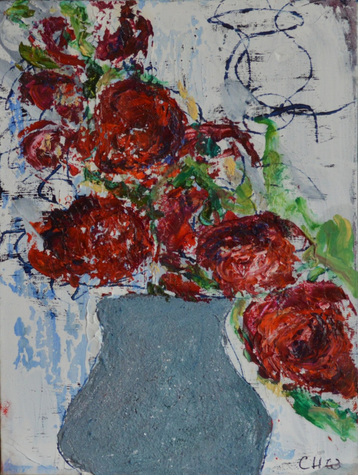 Red Flowers and Pale Blue Pot 2021