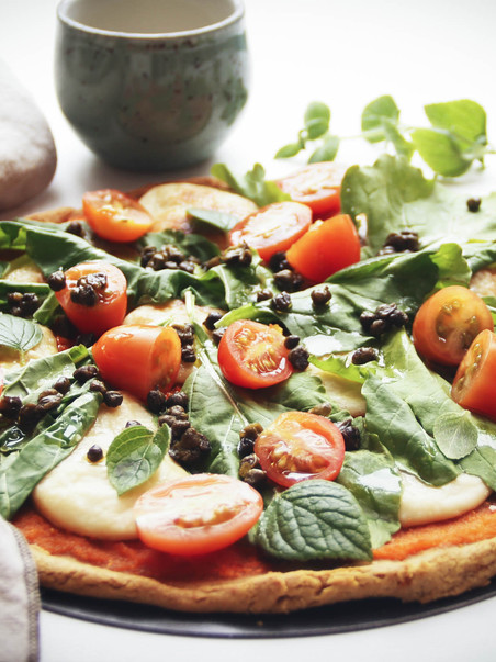 Vegan & GF Pizza a base de harina de garbanzo