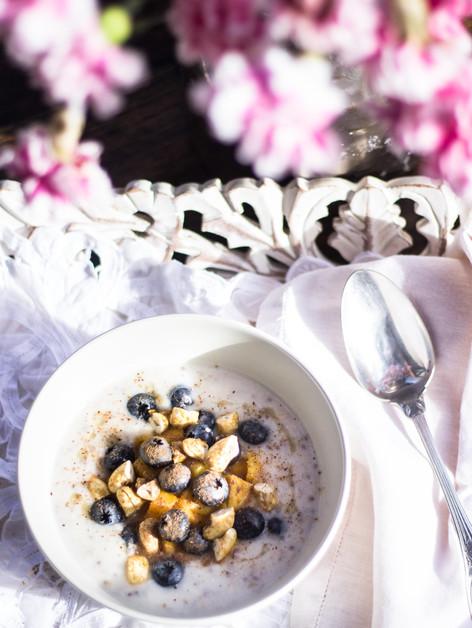 Porridge de avena linaza chia y semillas de hemp