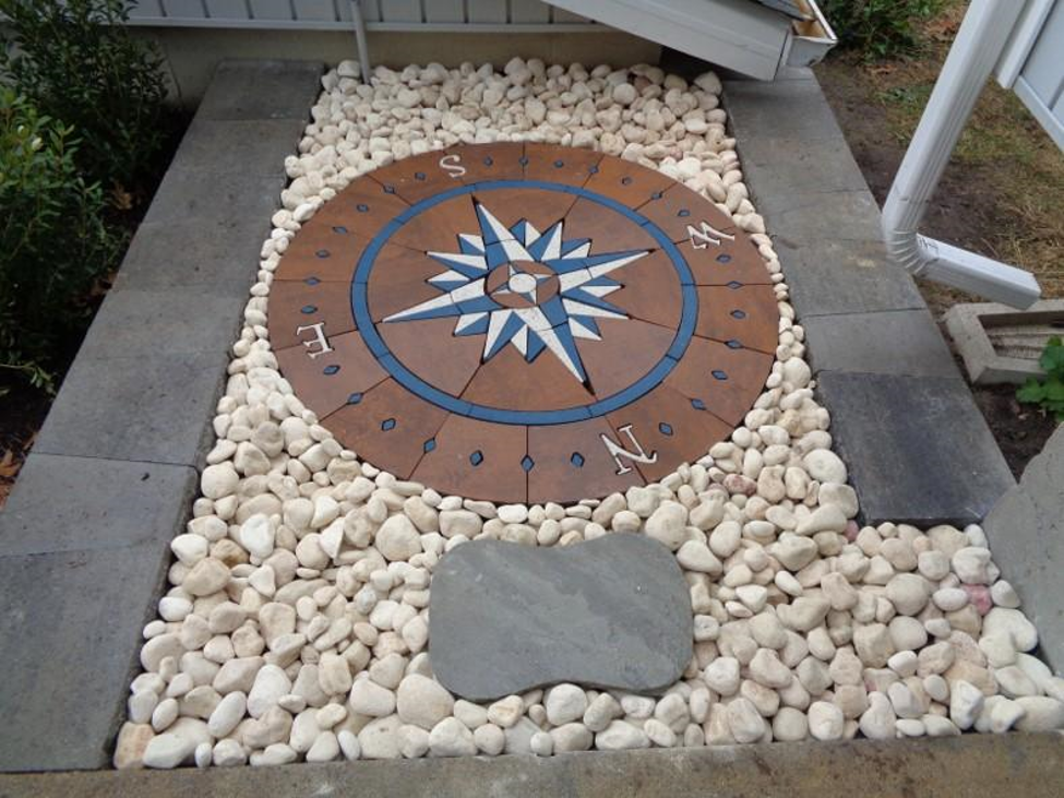 compass rose paver art in yard