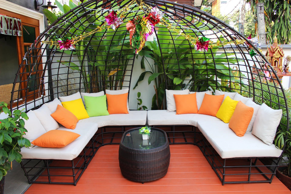 colorful patio furniture sitting area