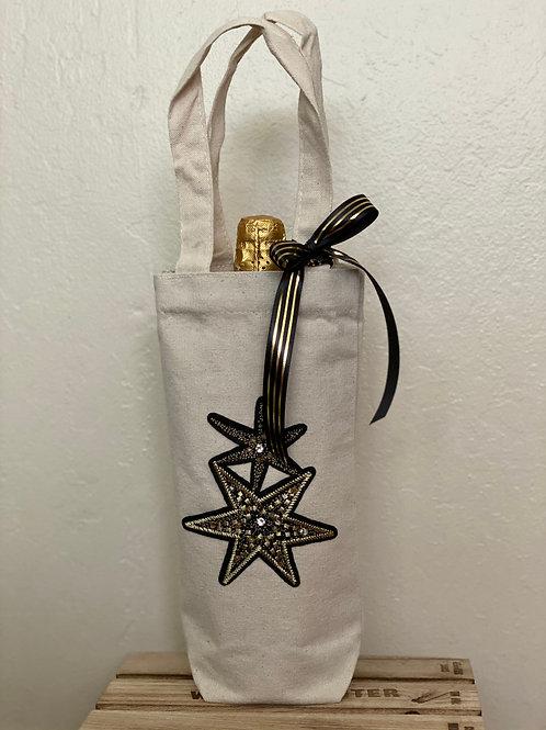 Wine Bag-Black and Gold Stars