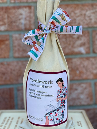 Wine Bag- Needlework-  For the times you need to stab something 10,000 times