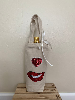 Wine Bag-Sequins Red Lips & Heart