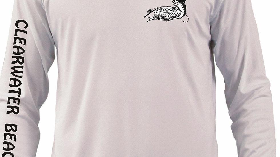 Large White Men's Long Sleeve High-Performance Saltwater Gear Shirts