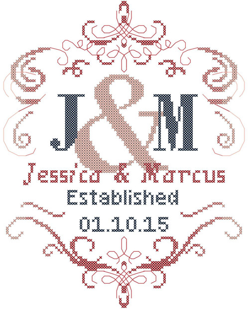 Modern Monogram Cross Stitch Pattern With Fancy Swirl Border Delectable Cross Stitch Wedding Patterns
