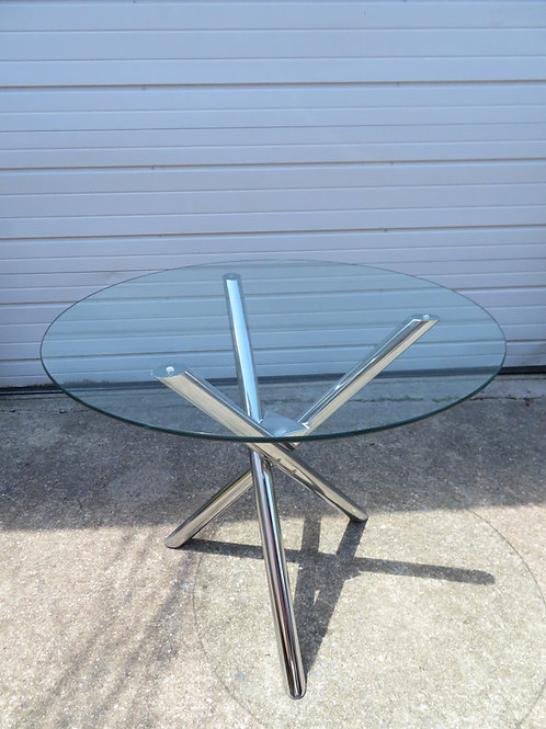 Excellent Pace Style Jax Base Chrome Dining Table Mid-Century Modern