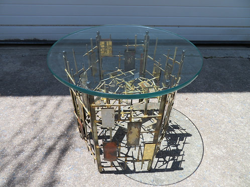 Silas Seandel Style Brutalist Mixed Metal Nail Side End Table, Mid-Century