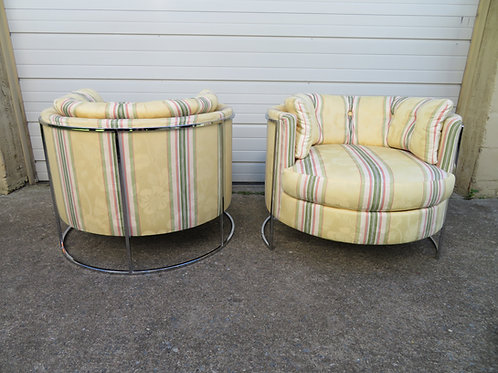 Pair of Milo Baughman Attributed Thin Chrome Frame Barrel Back Chairs