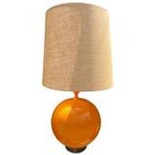 Massive Large Scale Orange Glaze Ceramic Orb Lamp, Mid-Century Modern