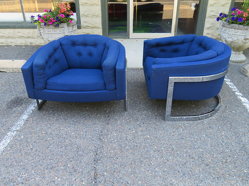 Gorgeous Pair of Milo Baughman Style Wide Seat Chrome Barrel Back Lounge Chairs