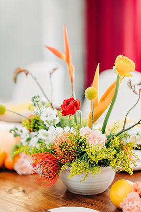 Bright Colorful Citrus Inspired Floral Arrangement