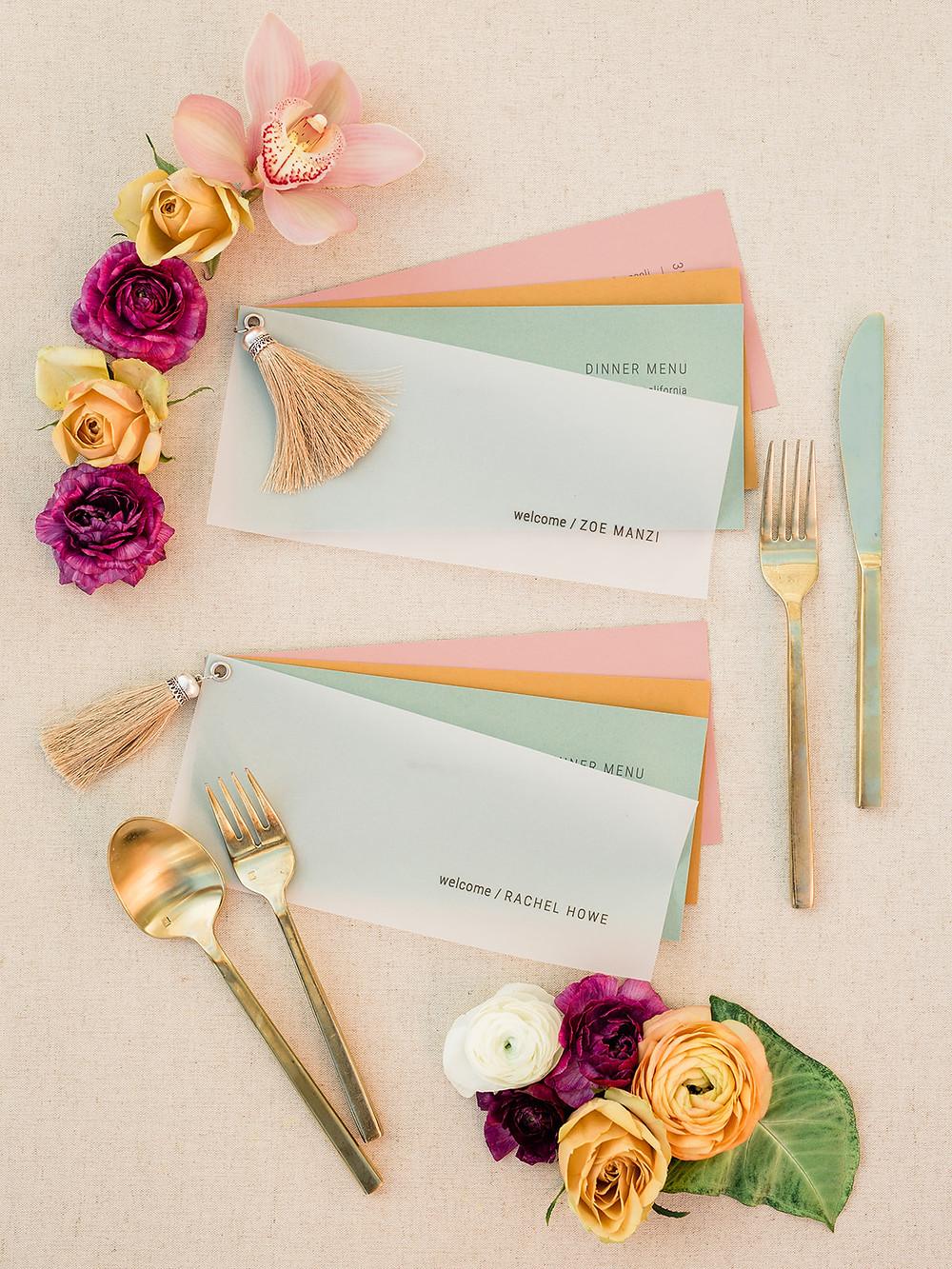 Modern Moroccan Desert Glam Editorial - LGBTQ Wedding Editoiral - Wedding Design Inspiration - Muted Desert Tones - Modern Glam Jungle Chic - Dinner menu design