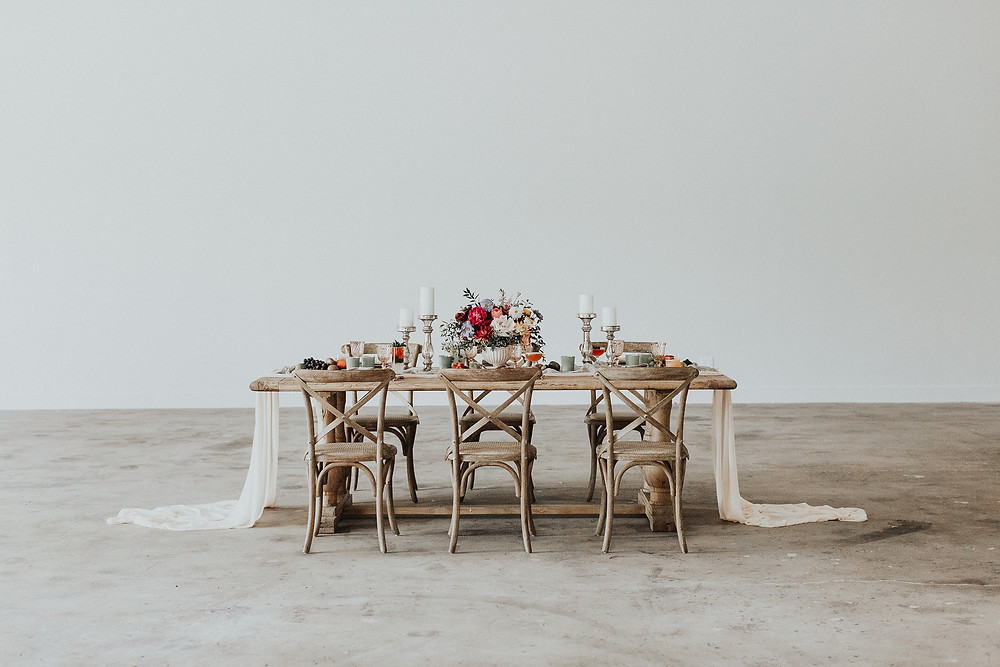 Romantic dining table set in an industrial space