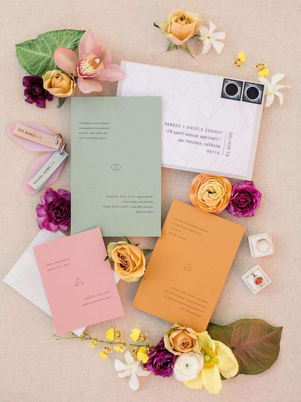 Modern Moroccan Desert Glam Editorial - LGBTQ Wedding Editoiral - Wedding Design Inspiration - Muted Desert Tones - Modern Glam Jungle Chic - Invitation Suite