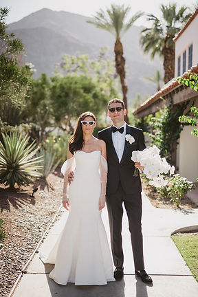 Chic fashion couple on their weddig day
