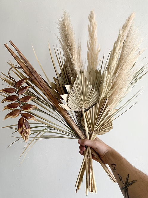 Extra Large Dried Tropical Bouquet with Helliconia and palms