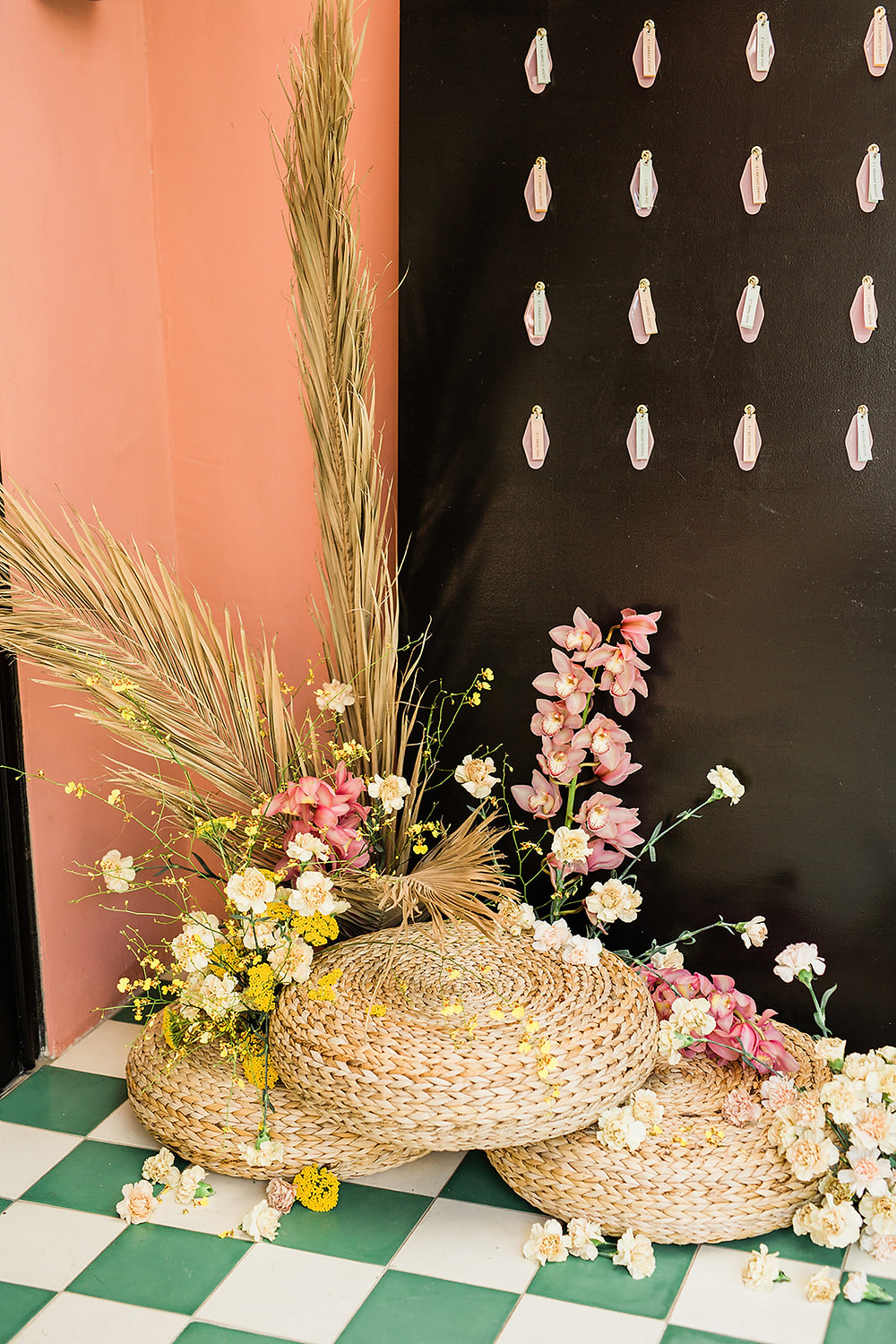 Modern Moroccan Desert Glam Editorial - LGBTQ Wedding Editoiral - Wedding Design Inspiration - Muted Desert Tones - Modern Glam Jungle Chic close-up of escort card display and floral installation