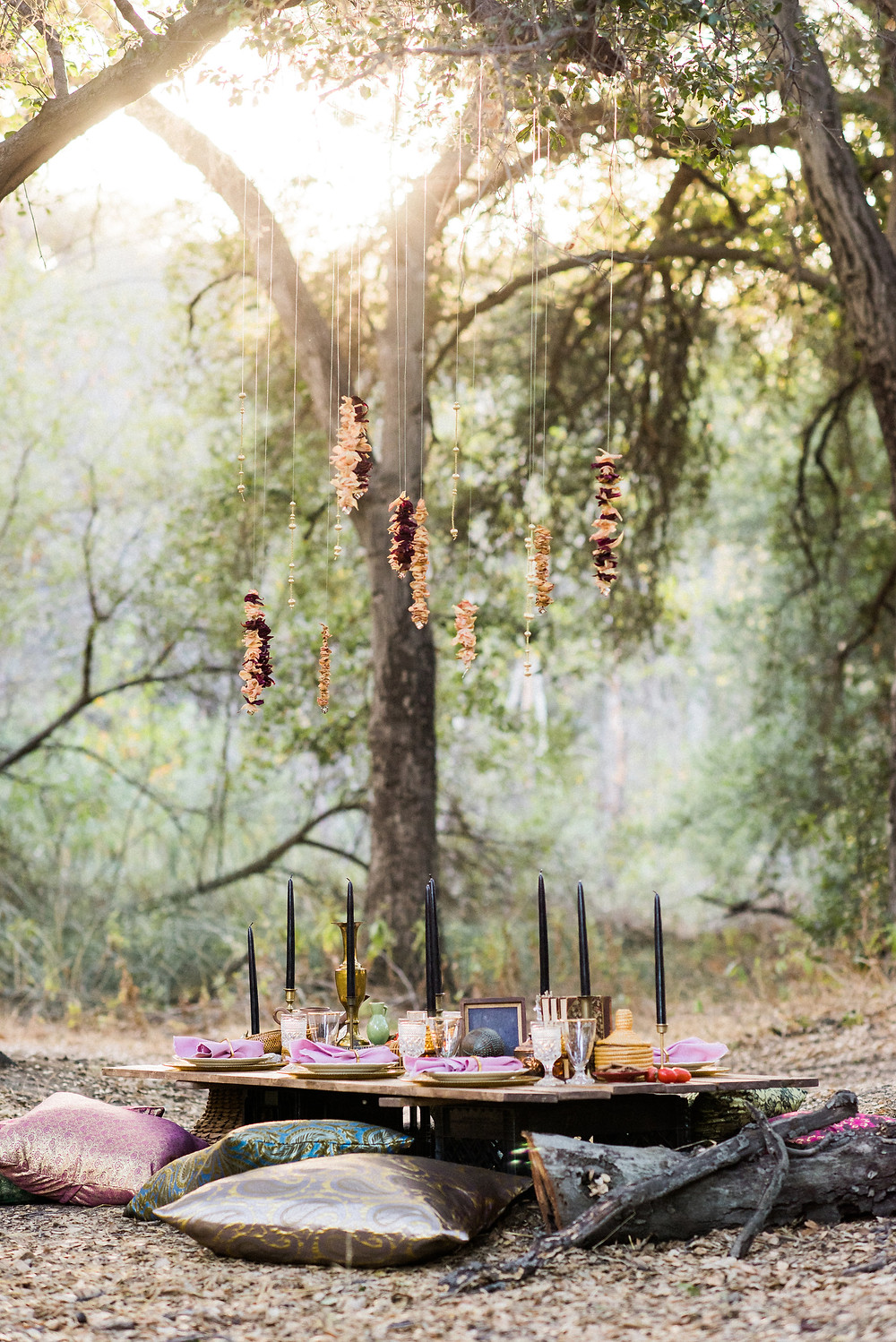 Stunning custom table set for dinner in the Los Angeles forrest