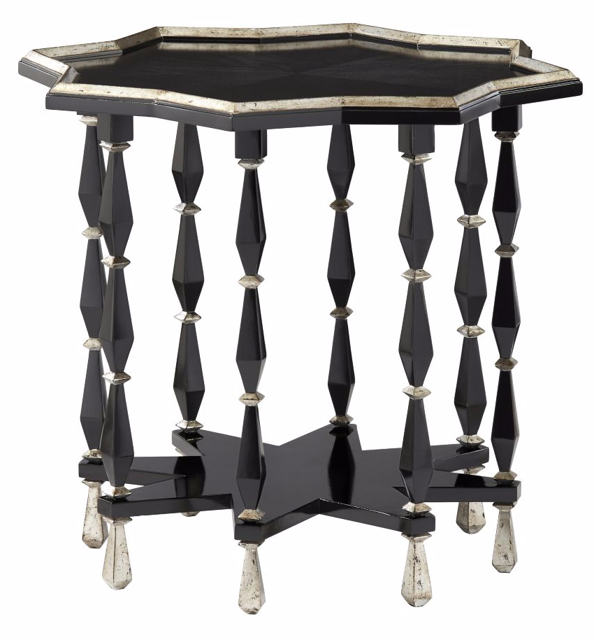 starburst shaped table in inky black with silver leaf details