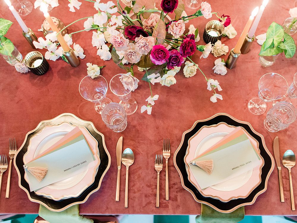 table decor - maximalist table design - Modern Moroccan Desert Glam Editorial - LGBTQ Wedding Editoiral - Wedding Design Inspiration - Muted Desert Tones - Modern Glam Jungle Chic