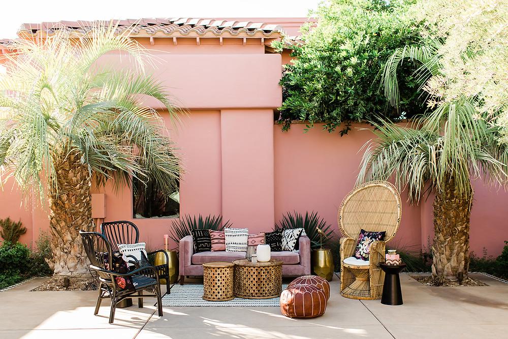 modern moroccan boho lounge - Modern Moroccan Desert Glam Editorial - LGBTQ Wedding Editoiral - Wedding Design Inspiration - Muted Desert Tones - Modern Glam Jungle Chic