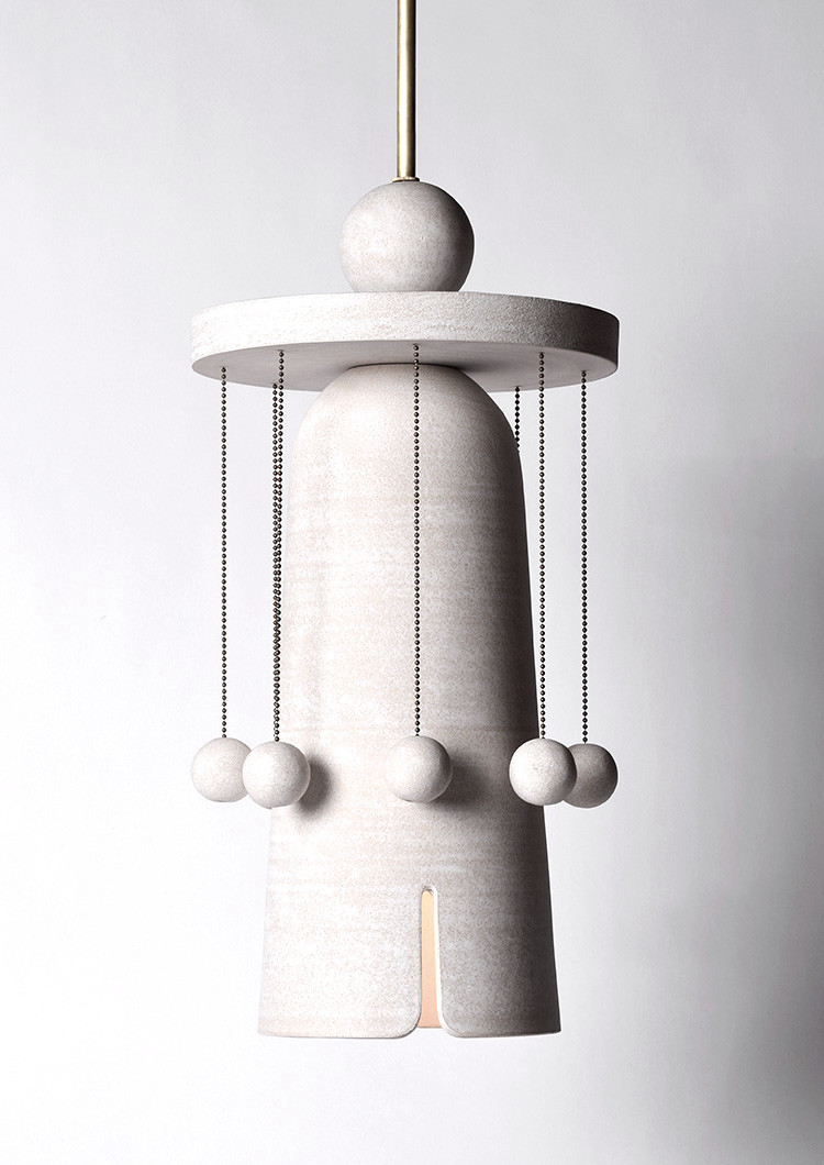 Ceramic pendant lamp with hanging balls