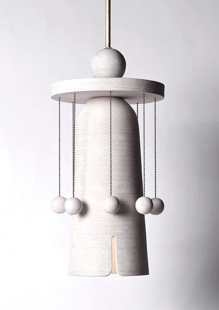 Ceramic pendant lamp with hanging balls