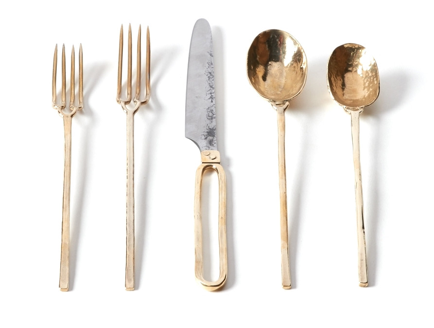 Hand-forged flatware in brass