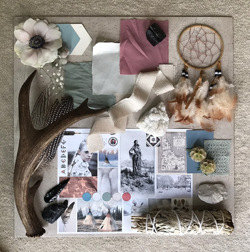 Textural Mood board for a winter wedding in Idaho