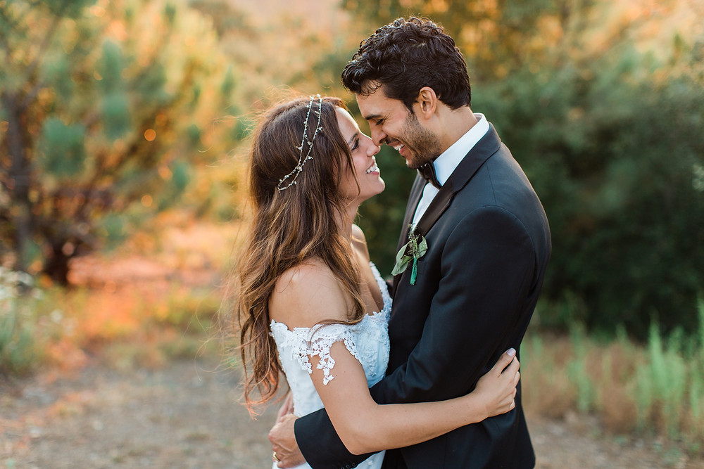 Romantic sunset photos of Bride and Groom.