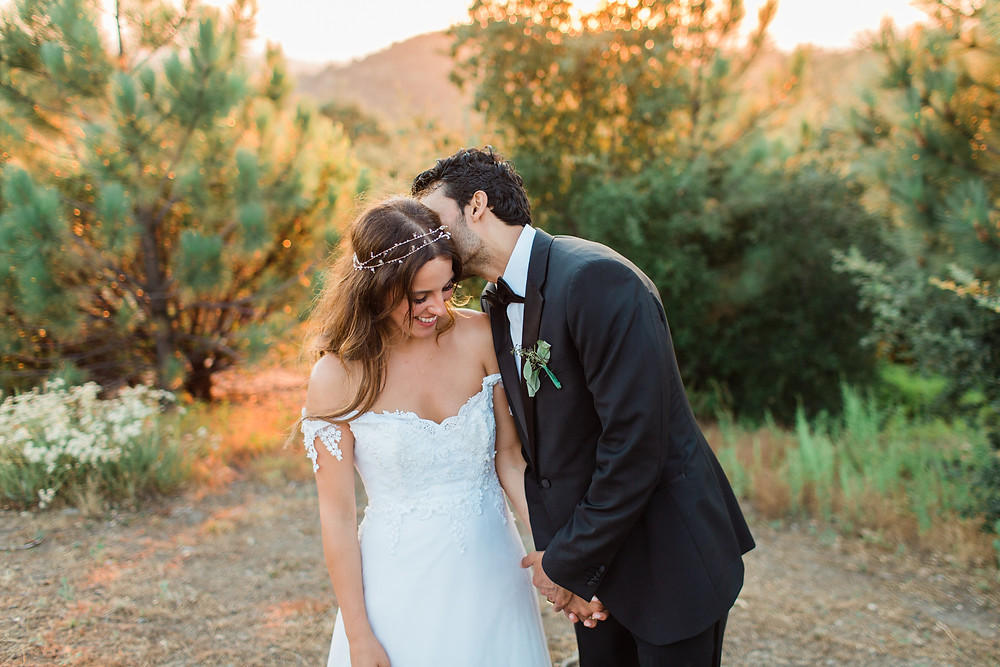 Romantic sunset photos of Bride and Groom