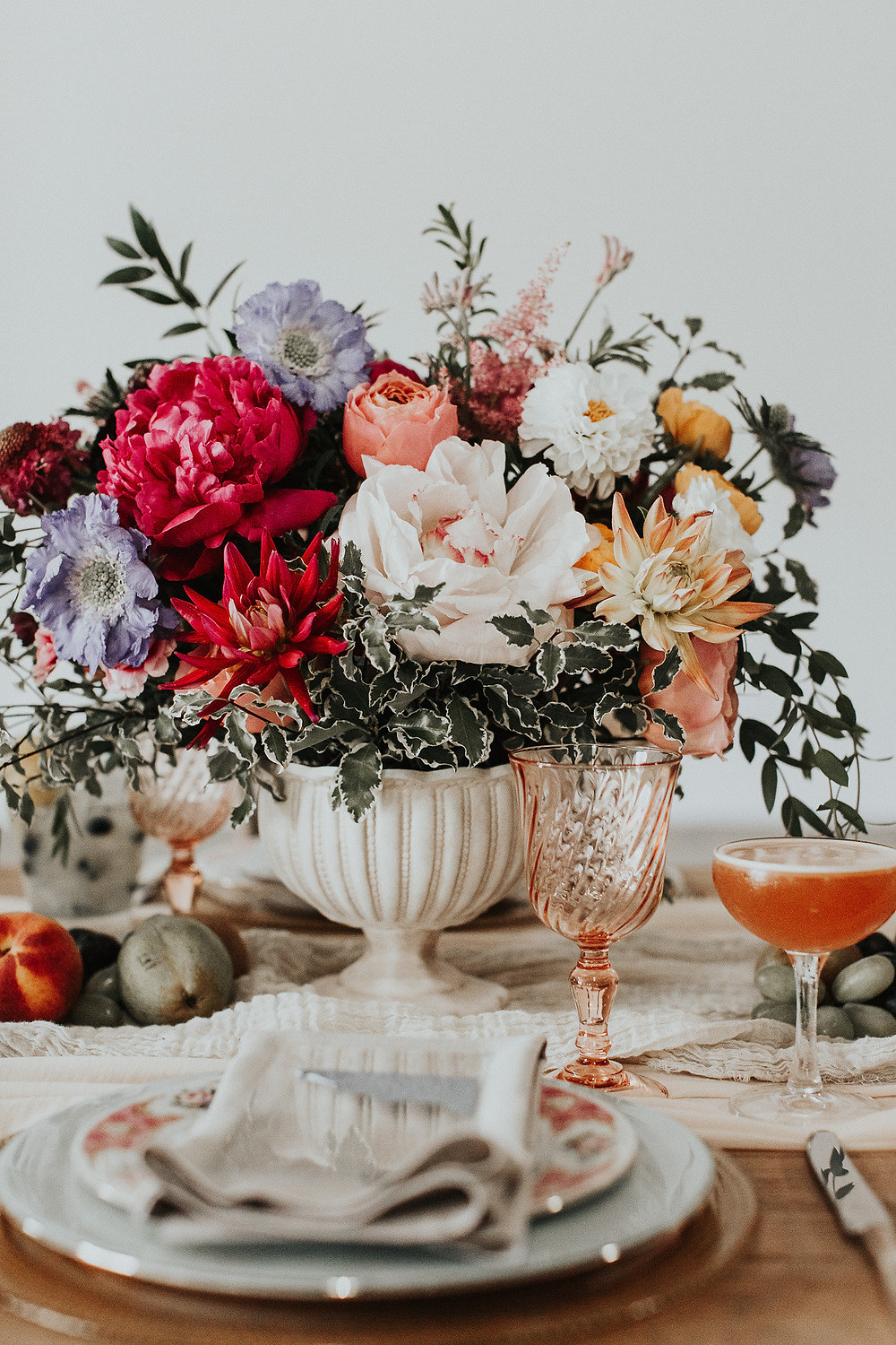 Beautiful saturated floral arrangement and dining table