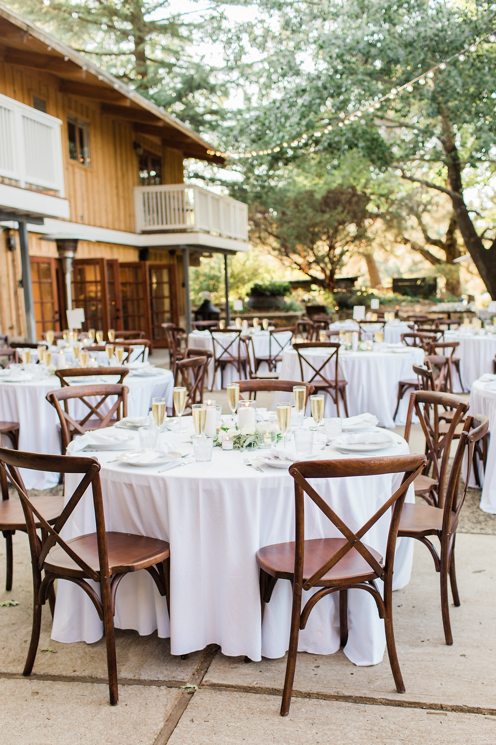 Reception space with bistro lights, white linens, and brown cross-back chairs
