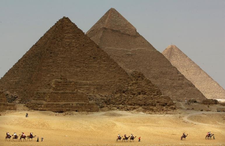 The Ancient Great Pyramids in Giza, Egypt