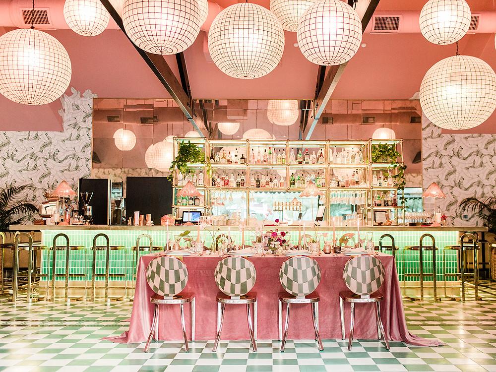 maximalist table design - Modern Moroccan Desert Glam Editorial - LGBTQ Wedding Editoiral - Wedding Design Inspiration - Muted Desert Tones - Modern Glam Jungle Chic