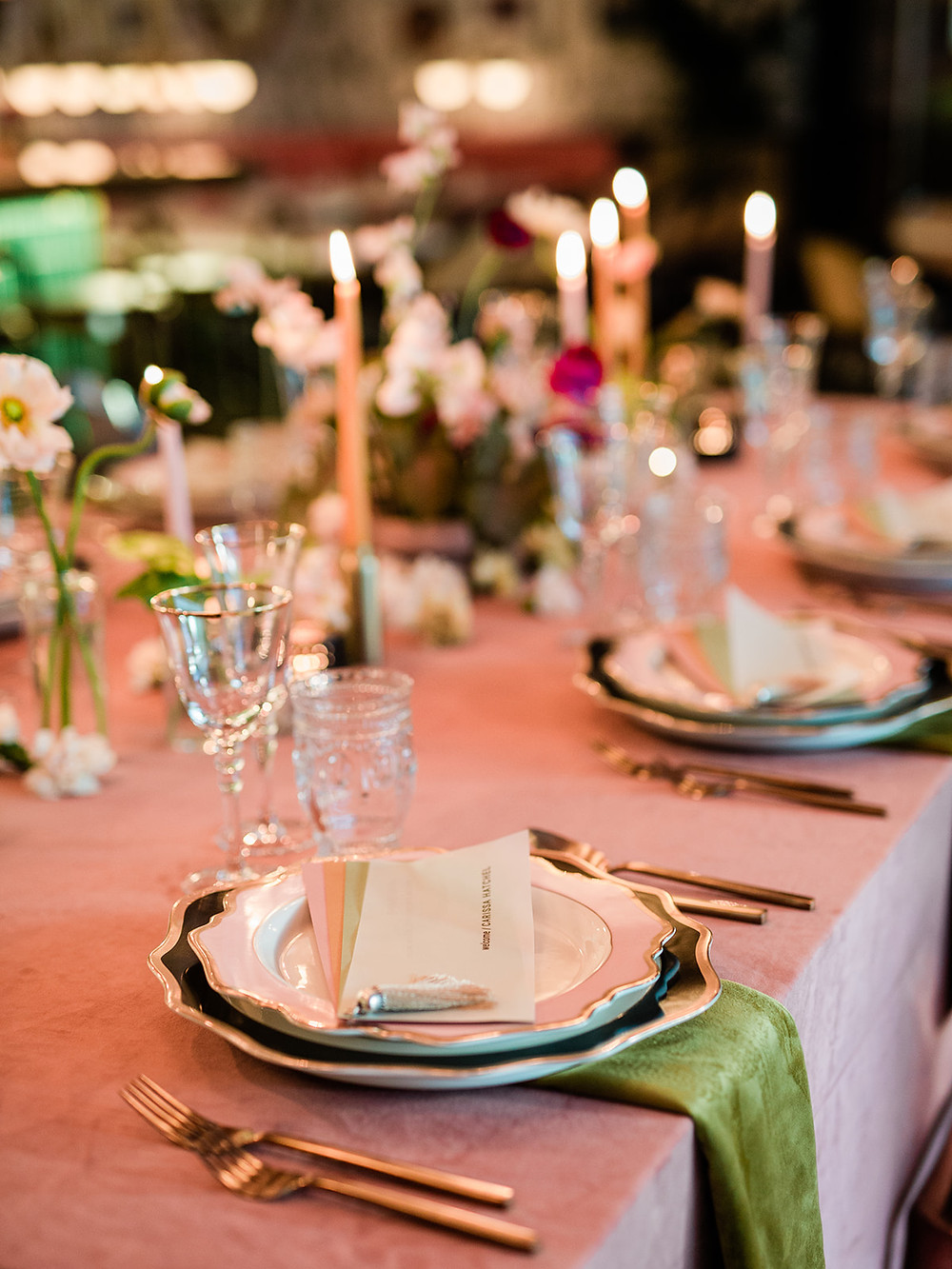 Modern Moroccan Desert Glam Editorial - LGBTQ Wedding Editoiral - Wedding Design Inspiration - Muted Desert Tones - Modern Glam Jungle Chic - table top dinner design