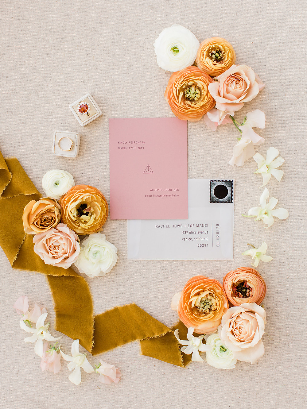 Modern Moroccan Desert Glam Editorial - LGBTQ Wedding Editoiral - Wedding Design Inspiration - Muted Desert Tones - Modern Glam Jungle Chic- invitation suite - ring