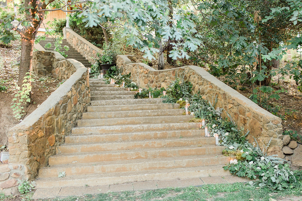 Stone staircase with wild greenery and candles for grand entrance.