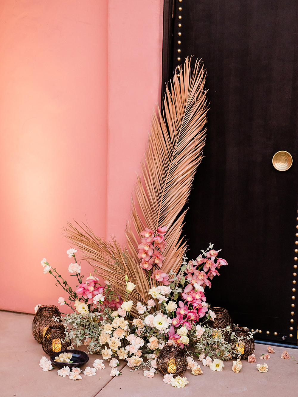 ceremony design - Modern Moroccan Desert Glam Editorial - LGBTQ Wedding Editoiral - Wedding Design Inspiration - Muted Desert Tones - Modern Glam Jungle Chic