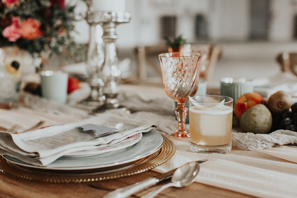 Custom cocktail set at each place setting for guests to enjoy