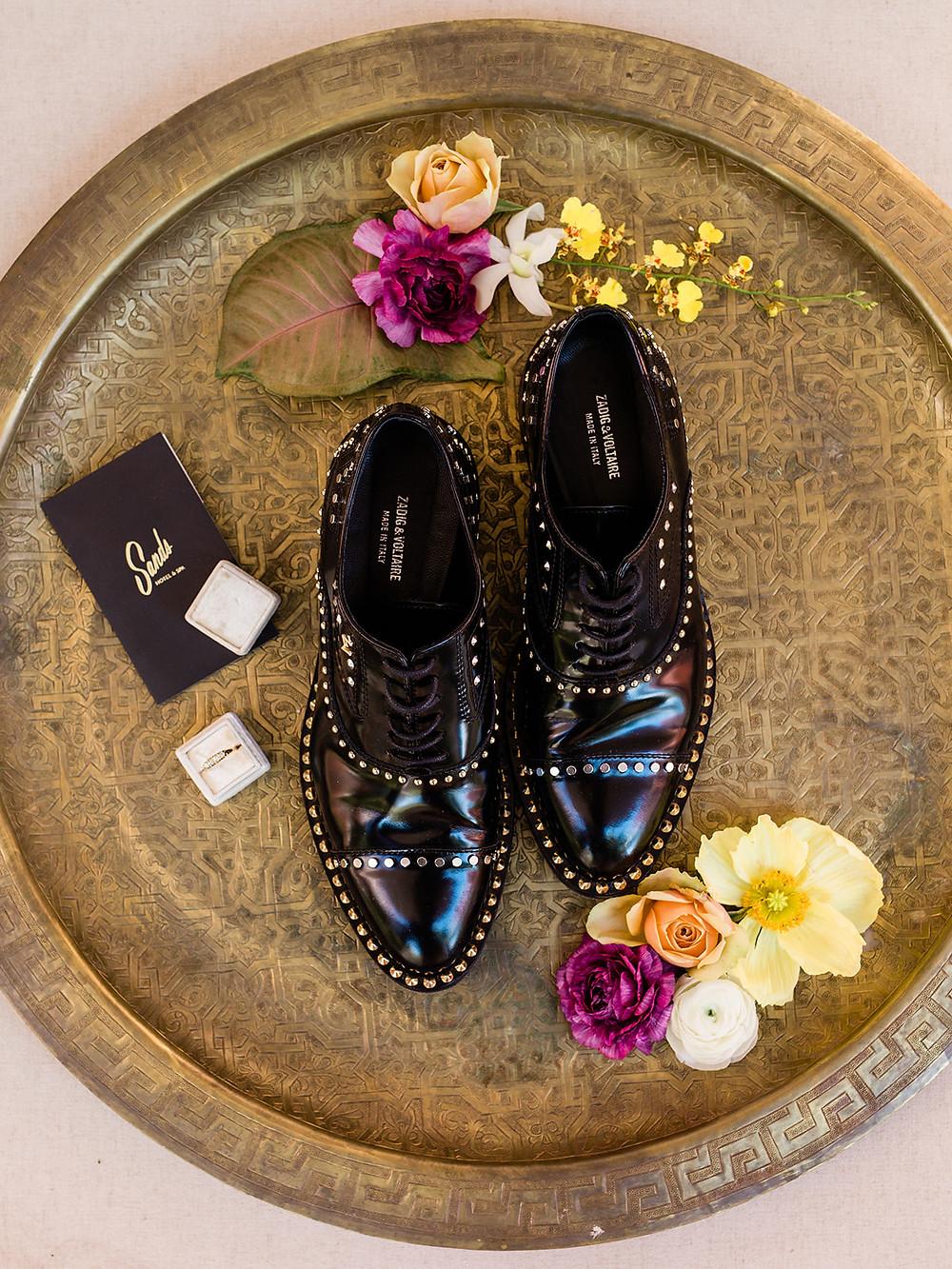 shoe styling - Modern Moroccan Desert Glam Editorial - LGBTQ Wedding Editoiral - Wedding Design Inspiration - Muted Desert Tones - Modern Glam Jungle Chic