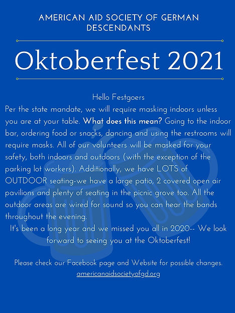 Hello Festgoers Per the state mandate, we will require masking indoors unless you are at y